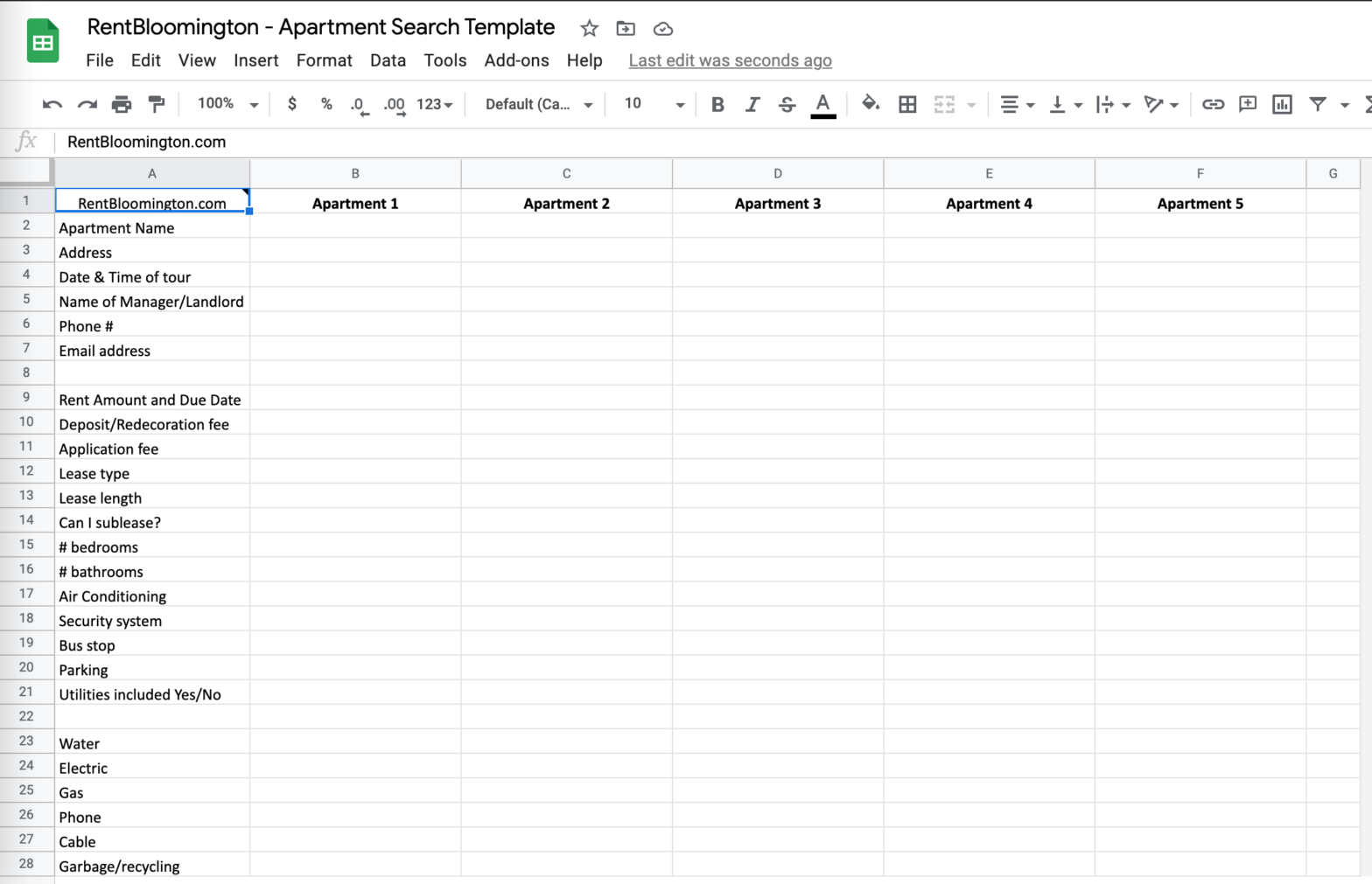 Rent Bloomington - Apartment Search Template Google Spreadsheet